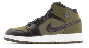 Air Jordan 1 Mid BG Olive Canvas Junior 554725 301