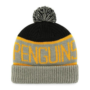 czapka zimowa 47 Brand Pittsburgh Penguins Calgary Cuff Knit Pompon H-CGLY15ACE-BKA